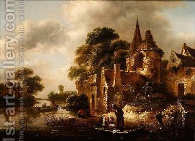 River Landscape with Peasants near a Castle by Claes Molenaar (see Molenaer) - Reproduction Oil Painting