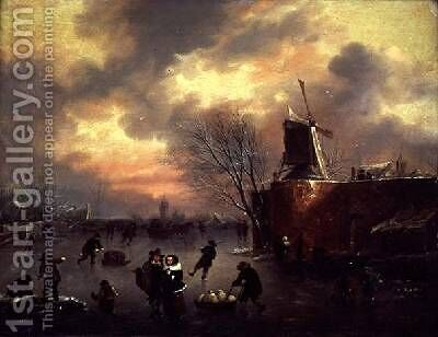 A Winter Skating Scene by Claes Molenaar (see Molenaer) - Reproduction Oil Painting