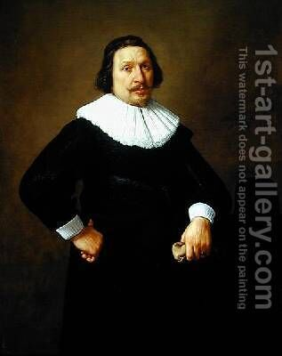 Portrait of a man holding a glove 1648 by Claes Cornelisz Moeyaert - Reproduction Oil Painting