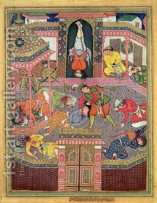 Murder Scene miniature of the Mughal period possibly from the Khamsa tales of Nizami 1570 by (attr. to) Mir Sayyid'Ali - Reproduction Oil Painting