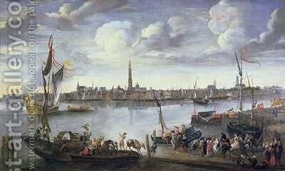 Antwerp from the Further Bank of the Scheldt by Hendrik van Minderhout - Reproduction Oil Painting