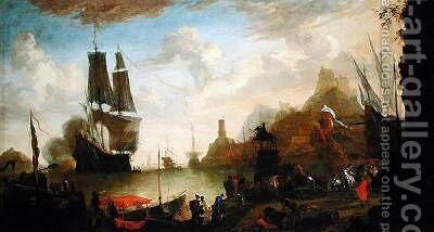 View of an Italian Port by Hendrik van Minderhout - Reproduction Oil Painting