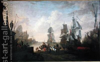 View of a Port in the Levant 1670 by Hendrik van Minderhout - Reproduction Oil Painting