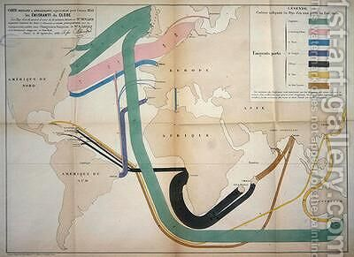 Map representing global emigration movements in 1858 1862 by Charles Joseph Minard - Reproduction Oil Painting