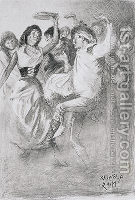 Gypsy Marriage Dance from The Zincali by George Barrow 1803-81 by Arthur Wallis Mills - Reproduction Oil Painting
