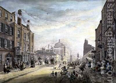 A View Towards Hanover Square from Holles Street London 1775 by James Miller - Reproduction Oil Painting