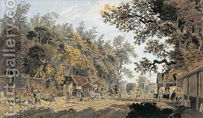 Coach and Four arriving at a Toll Gate London by James Miller - Reproduction Oil Painting
