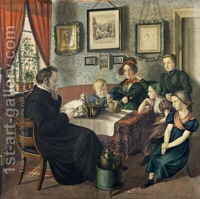 Pastor Johann Wilhelm Rautenberg and his Family 1833 by Carl Julius Milde - Reproduction Oil Painting