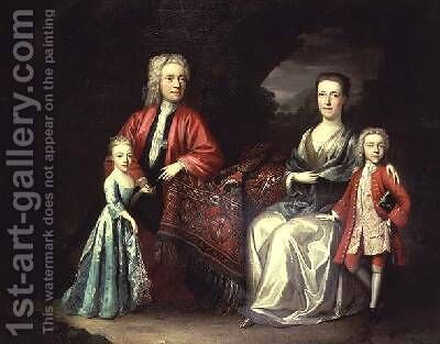Family portrait of a man his wife their son and daughter by Heroman Van Der Mijn - Reproduction Oil Painting