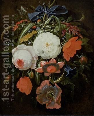 Still Life of Hanging Flowers by Abraham Mignon - Reproduction Oil Painting