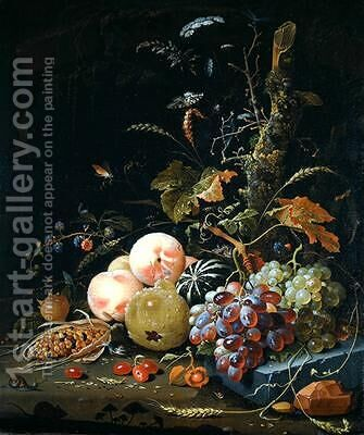 Still life of a forest floor by Abraham Mignon - Reproduction Oil Painting