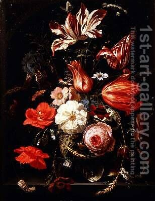 Still Life of Flowers on a Ledge by Abraham Mignon - Reproduction Oil Painting