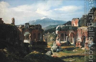 Ruins of the Theatre at Taormina by Achille-Etna Michallon - Reproduction Oil Painting