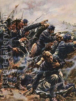 High Tide at Gettysburg illustration from This Country of Ours The Story of the United States by A.C. Michael - Reproduction Oil Painting
