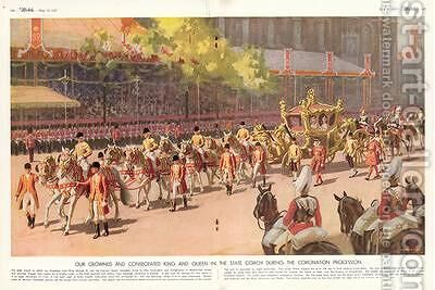 Our Crowned and Consecrated King and Queen in the State Coach During the Coronation Procession on 12th May 1937 from The Sketch 19th May 1937 by A.C. Michael - Reproduction Oil Painting