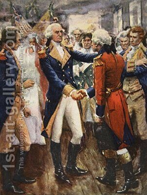 Washington taking leave of his officers illustration from This Country of Ours The Story of the United States by A.C. Michael - Reproduction Oil Painting