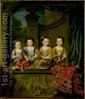 Portrait of the daughters of Sir Matthew Decker Bt 1718 by Jan Van Meyer - Reproduction Oil Painting