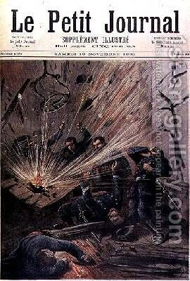 Anarchic Attack on a Police Station in Paris from Le Petit Journal 19 November 1892 by Henri Meyer - Reproduction Oil Painting