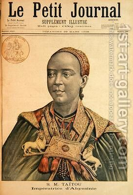 Portrait of the Taytu Betul 1851-1918 Empress of Ethiopia from Le Petit Journal 29th March 1896 by Henri Meyer - Reproduction Oil Painting
