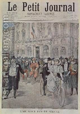 A Wedding on a Bicycle front cover illustration from Le Petit Journal 5th March 1897 by Henri Meyer - Reproduction Oil Painting