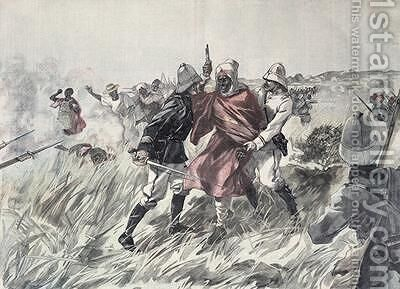 The capture of Toure Samory 1835-1900 by Lieutenant Jacquin near Guelemou in 1898 from Le Petit Journal 30th October 1898 by Henri Meyer - Reproduction Oil Painting