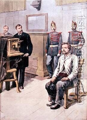 The Assassin of Choisy-le-Roy being photographed before Professor Bertillon from Le Petit Journal 7th May 1899 by Henri Meyer - Reproduction Oil Painting