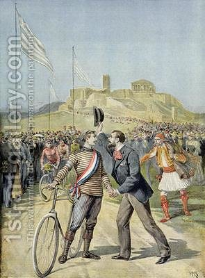 The Olympic Games in Athens from Le Petit Journal 26th April 1896 by Henri Meyer - Reproduction Oil Painting