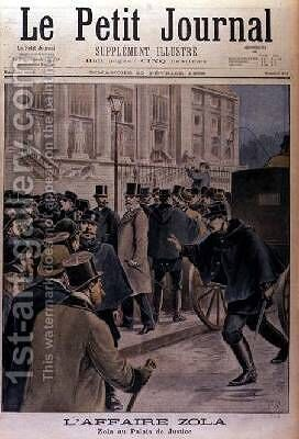 The Zola Affair Emile Zola 1840-1902 at the Palais de Justice cover of Le Petit Journal 20th February 1898 by Henri Meyer - Reproduction Oil Painting