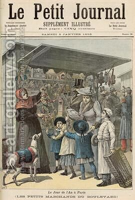 New Years Day in Paris The Little Stalls on the Boulevard cover of Le Petit Journal 2nd January 1892 by Henri Meyer - Reproduction Oil Painting
