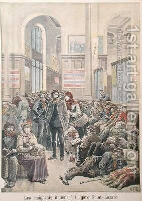 Italian Emigrants at Gare Saint-Lazare from Le Petit Journal 29th March 1896 by Henri Meyer - Reproduction Oil Painting