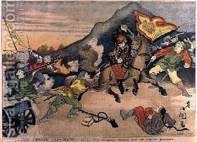 The Taking of the Chinese Flag by a Japanese Officer from Le Petit Journal October 1894 by Henri Meyer - Reproduction Oil Painting