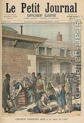 Jewish Refugee Camp in the Gare de Lyon from Le Petit Journal Supplement Illustre 10th September 1892 by Henri Meyer - Reproduction Oil Painting