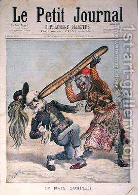 Caricature of Francesco Crispi 1818-1901 and the defeat of the Italian invading army at the siege of Makalle Ethiopia cover of Le Petit Journal 9th February 1896 by Henri Meyer - Reproduction Oil Painting