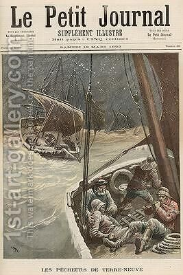 Newfoundland Fishermen from Le Petit Journal 19th March 1892 by Henri Meyer - Reproduction Oil Painting