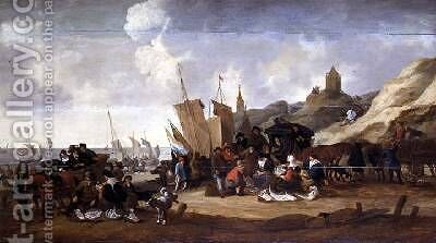 A Scene on the Coast near Scheveringen by Hendrick de Meyer - Reproduction Oil Painting