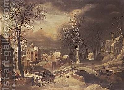 Winter Landscape by Hendrick de Meyer - Reproduction Oil Painting