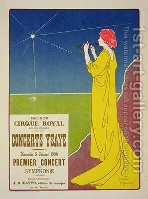 Reproduction of a poster advertising the Ysaye Concerts Salle du Cirque Royal Brussels 1895 by Henri Georges Jean Isidore Meunier - Reproduction Oil Painting