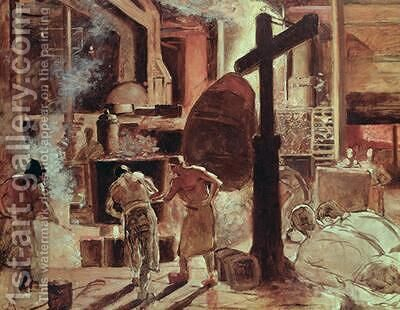 The Steelworks by Constantin Meunier - Reproduction Oil Painting