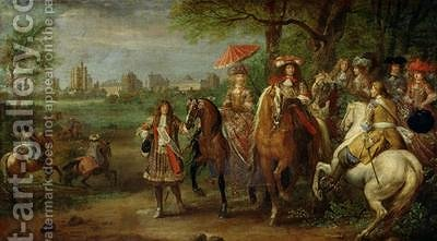 View of the Chateau de Vincennes with Louis XIV 1638-1715 and Maria Theresa 1638-83 of Austria 1669 by Adam Frans van der Meulen - Reproduction Oil Painting