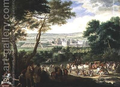 Louis XIV 1638-1715 at Vincennes by Adam Frans van der Meulen - Reproduction Oil Painting