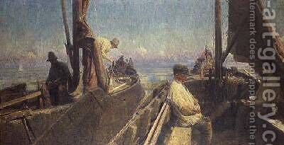 Zeeland Fishermen by Charles Mertens - Reproduction Oil Painting