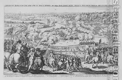 The Battle of Rain am Lech  victory of the Protestant Swedes against the Catholic troops of Tilly 15th April 1632 from Theatrum Europaeum Volume II 1633 by Matthäus the Elder Merian - Reproduction Oil Painting