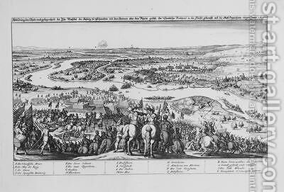 Crossing of the Rhine by the Protestant Swedish troops and the Conquest of Oppenheim on 7 November 1631 from Theatrum Europaeum Volume II 1633 by Matthäus the Elder Merian - Reproduction Oil Painting