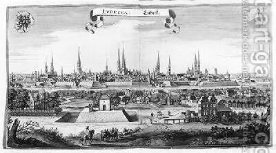 View of Lubeck by Matthäus the Elder Merian - Reproduction Oil Painting
