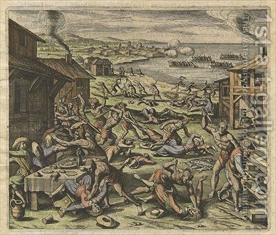 The massacre of the settlers in 1622 plate VII from America Part XIII by Matthäus the Elder Merian - Reproduction Oil Painting