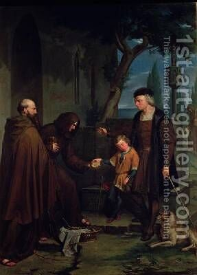 Christopher Columbus at the gates of the monastery of Santa Maria de la Rabida with his son Diego giving bread and water 1858 by Benito Mercade y Fabregas - Reproduction Oil Painting