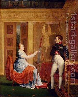 Marie Louise 1791-1847 of Habsbourg Lorraine Painting a Portrait of Napoleon I 1769-1821 by Alexandre Menjaud - Reproduction Oil Painting