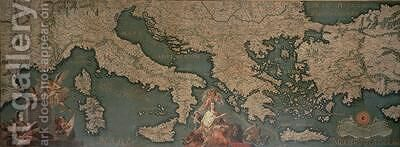 Map of Italy Greece and Asia Minor by Giustino Menescardi - Reproduction Oil Painting