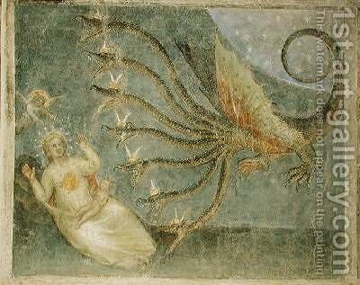 The woman clothed with the sun and the seven-headed dragon 1360-70 by Giusto di Giovanni de' Menabuoi - Reproduction Oil Painting