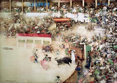 The Little Bull Fight Bravo Toro by Arthur Melville - Reproduction Oil Painting